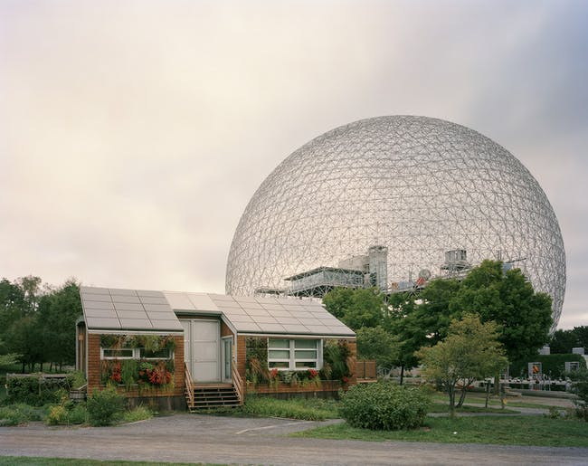 Jade Doskow's photo of Buckminster Fuller's Geodesic Dome with Solar Experimental House from the Montreal 1967 World's Fair, 'Man and His World.' The photo is part of Doskow's ambitious project to photograph all the remaining iconic sites and structures of past world's fairs.
