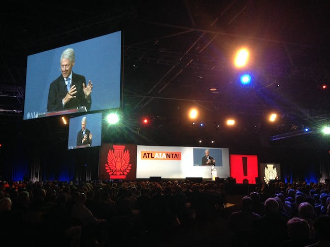 Bill Clinton's keynote. Photo by Amelia Taylor-Hochberg.