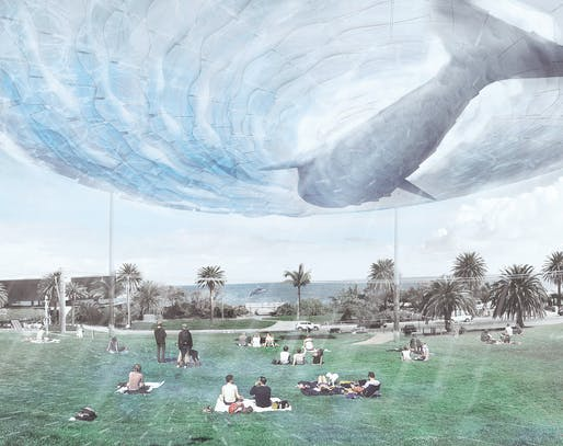 """​A New Citizen of Melbourne Who Lives at a Piece of Sea in the Sky"", A submission to the Land Art Generator Initiative (LAGI) 2018 Competition for Melbourne. TEAM: Zhang Hao, Chen Bocong, Zhu Jing, Yang Qiurun. TEAM LOCATION: Shenzhen, China. ENERGY TECHNOLOGIES: thin-film photovoltaic..."
