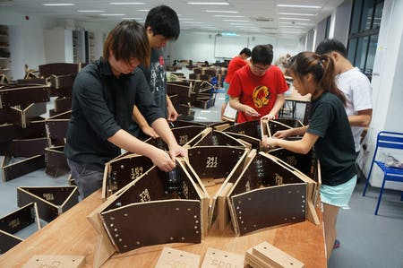 Students at Singapore University of Technology and Design working on a pavilion. Photo: City Form Lab
