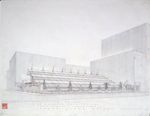 Frank Lloyd Wright, Sixty Years of Living Architecture Exhibition Building (demolished), New York; Perspective (presentation drawing), 1953; Graphite and ink on tracing paper, 91 x 196 cm; Drawing © 1988 Frank Lloyd Wright Foundation, Scottsdale, Arizona.
