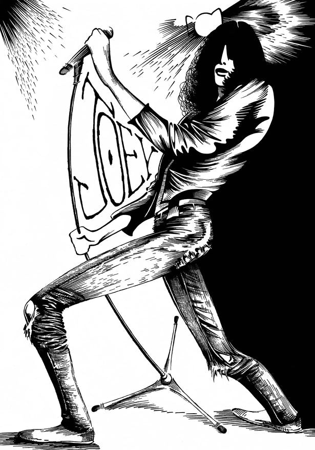 This piece is a pen and ink illustration of Joey Ramone.