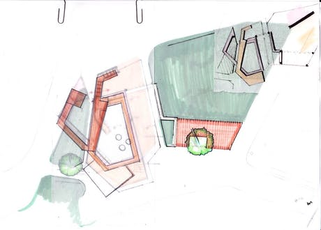 Sketched plan of outdoors children's playground