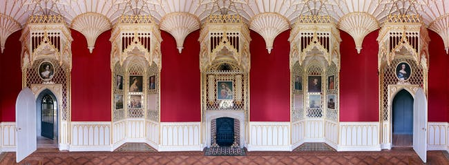 Interiors: Long Gallery Strawberry Hill House by Horace Walpole, restored by Peter Inskip & Stephen Gee. Photo by Kilian O'Sullivan.