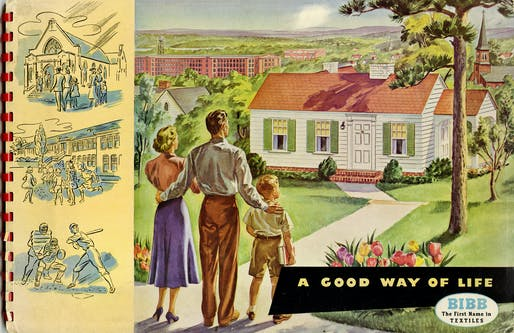 """A Good Way of Life,"" the cover of a textile catalog, part of the ""Selling the Dwelling"" exhibition at the Grolier Club. Private Collection"