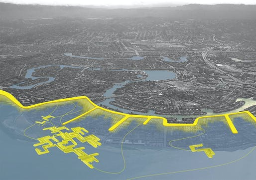 Aerial perspective of a managed retreat project in Foster City, CA. Low lying developments on fill are abandoned for the protection of other development areas and infrastructure. Levies aligned with the street grid extend into the water and provide protection of wetlands from wave action. A...