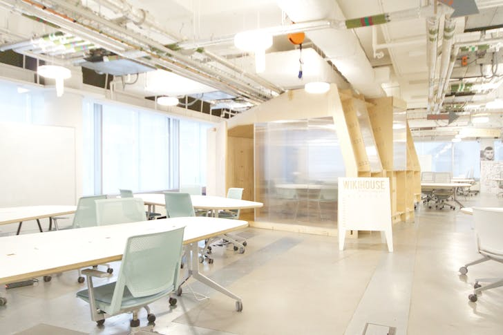 An Impact Hub space with Opendesk furniture and a Wikihouse prototype. Images courtesy Opendesk.