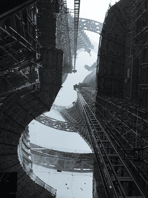 The Leeza SOHO Atrium under construction in Beijing's Lize Financial Business District. Photo: Satoshi Ohashi. Image courtesy of Zaha Hadid Architects.