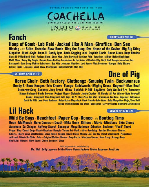 RNN generated Coachella lineup featuring new installation designers. Image: Botnik Studios.