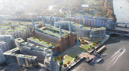 An envisioning of the new Battersea Power Station based on the master plan by Rafael Viñoly.