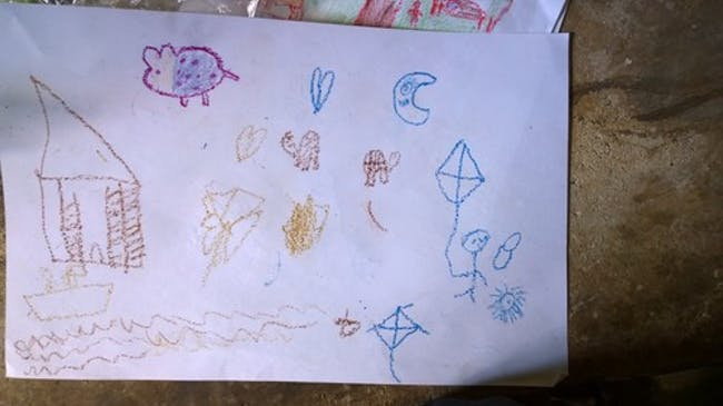 Kids drawing of a typical day