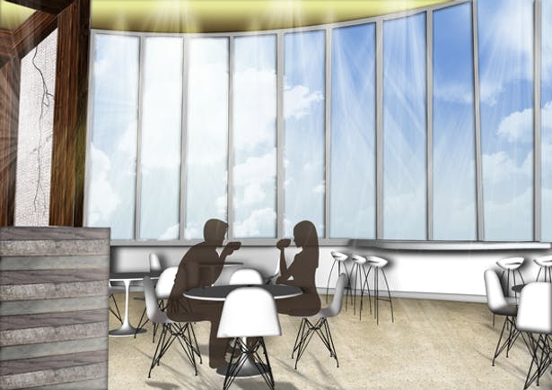 Rooted Restaurant and Tea Room Cafe/Bar Style Seating View: Google SketchUp, Adobe Photoshop