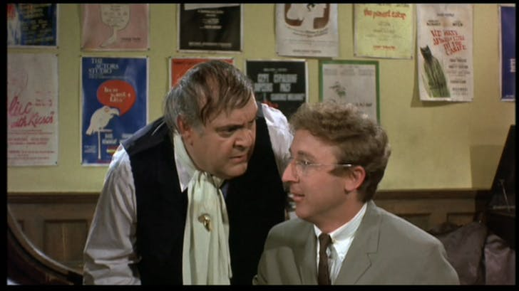 Accountant Leo Bloom discusses issues with client Max Bialystock in 1968's The Producers. Photo via classicmovienight.wordpress.com