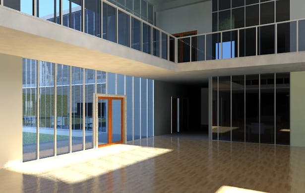 Edge of atrium toward the lab, and the exit to the playground