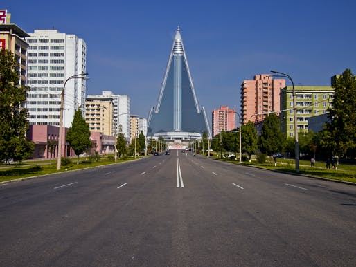 "The 105-story, 3000-room <a href=""https://archinect.com/news/tag/207667/ryugyong-hotel"">Ryugyong Hotel</a> has been under construction (on and off) since 1987 and still isn't open for foreign visitors. Photo: Marcelo Druck for <a href=""http://www.travelmag.com/"">TravelMag.com</a>."