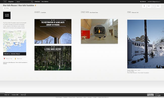 Screen shot of Alvar Aalto page from Google Cultural Institute.