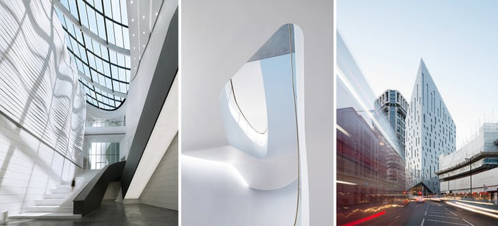 Left to Right: Museum of Contemporary Art (MOCA) Yinchuan, China, by waa (we architech anonymous). Investcorp Building, Oxford, UK, by Zaha Hadid Architects. M by Montcalm Shoreditch, London, by By Squire & Partners and 5plus architects. Images © NAARO