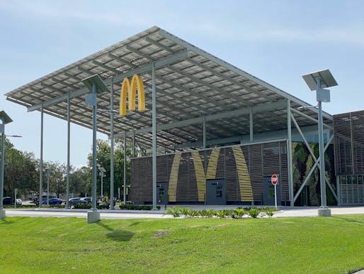 Less than $15 Million - Merit Award: McDonald's Net Zero Quick Service Restaurant Rebuild, Kissimmee, FL. Structural Engineer: CPH, Inc., Sanford, FL. Architects: CPH, Inc., Sanford, LA; Ross Barney Architects, Chicago, IL. Photo: Tyler Carr/Southland Construction.