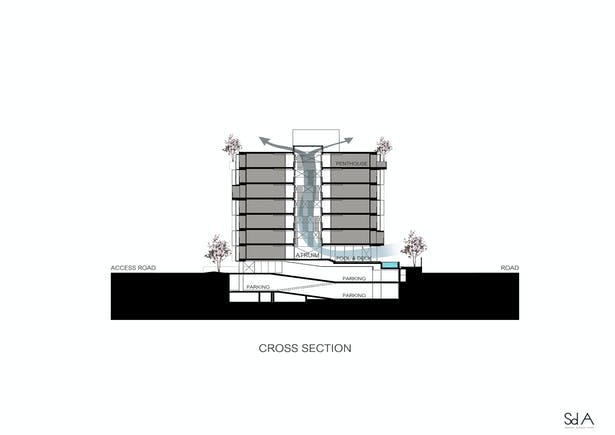 Cross section, photograph by Somdoon Architects