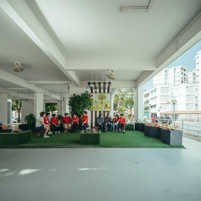 Community Living Room by Residents of Jurong East and Tampines, Singapore University of Technology and Design, National University of Singapore. © Singapore Pavilion, 16th Venice Biennale International Architecture Exhibition.