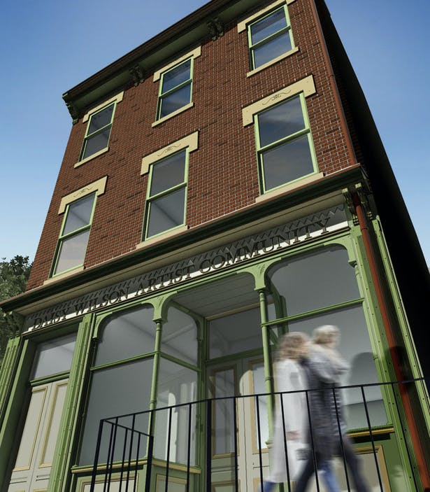 Newly rennovated facade of the August Wilson House. Rendered image (left) made by June Kim, fellow UDBS student