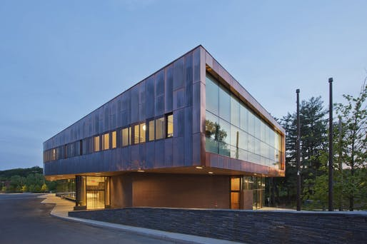 John W. Olver Transit Center, Zero Net Energy Building, by Charles Rose Architects, located in Greenfield, MA. Image: Charles Rose Architects.