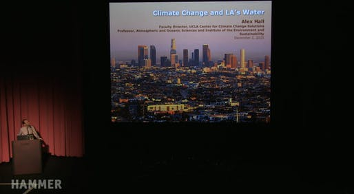 Alex Hall presenting on the role of climate change in the future of water in Los Angeles during 'Next Wave: Thriving in a Hotter Los Angeles' at the Hammer Museum. Credit: Next Wave / the Hammer Museum