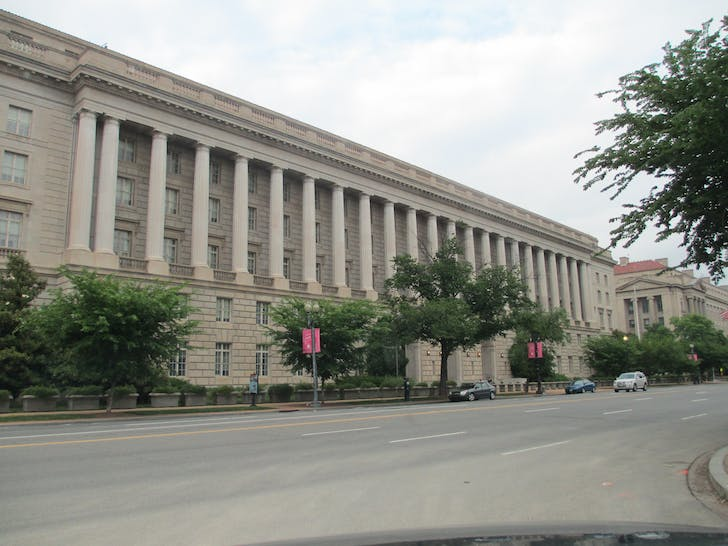 The Internal Revenue Service Building, designed by Louis A. Simon. Photo via Wikipedia.