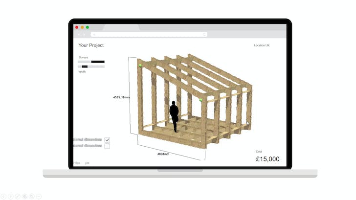 Fully parametric generative modeling in WikiHouse's interface. Image courtesy of WikiHouse.