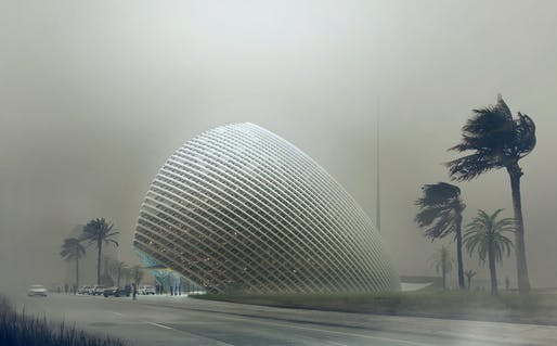 Dust storm rendering of Mario Cucinella Architects' new ARPT Headquarters (Image courtesy of Mario Cucinella Architects)