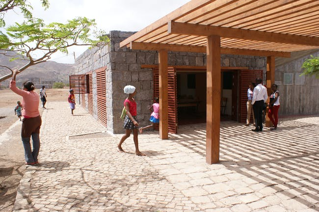 Porch entrance of the Tarrafal Football for Hope Center. Location: Tarrafal, Cape Verde. Credit: Darren Gill