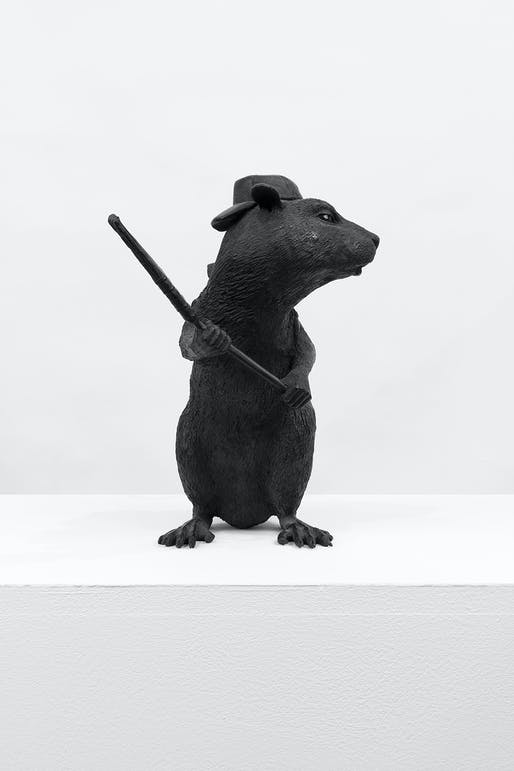 "Banksy, ""Bronze Rat"", 2006. Image courtesy of Lazinc."