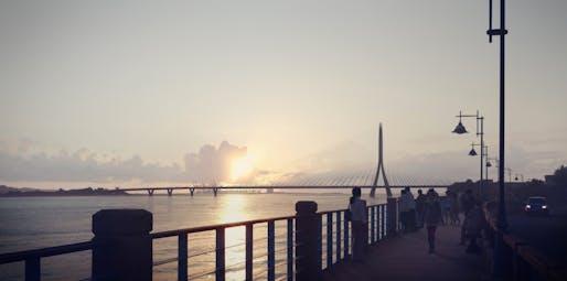 Danjiang Bridge by Zaha Hadid Architects, render by MIR.