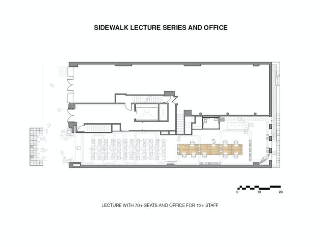 Sidewalk Lecture Series and Office. Ground/Work Competition Finalist Entry by Of Possible Architectures Image courtesy of OPA.
