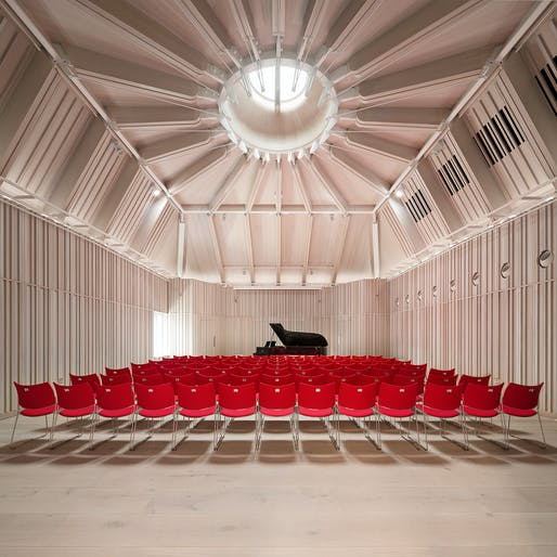 RIBA London Building of the Year Award: Royal Academy of Music, Susie Sainsbury Theatre and Angela Burgess Recital Hall by Ian Ritchie Architects. Photo: Adam Scott.