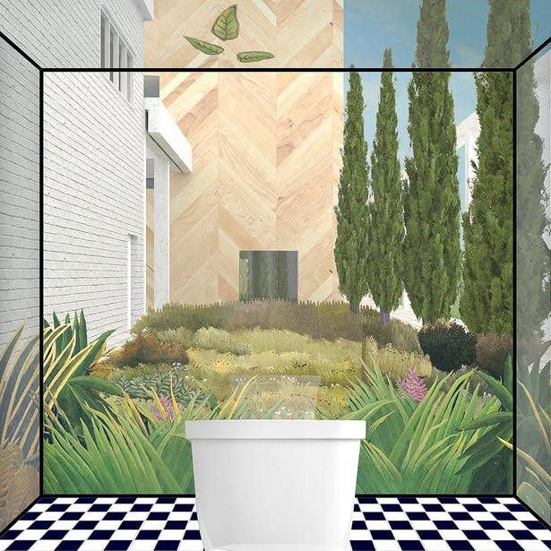 The Body Pavilion: Cleansing your body in a mirror box bounded by nature.