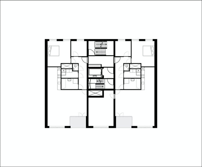 Floor plan of 2nd-7th floor of B05 'Kuifje' by NL Architects. Image: NL Architects.