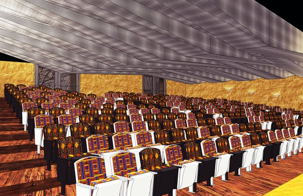 The auditorium, with its bright African textiles that nicely contrast the dynamic metal ceiling made of perforated metal