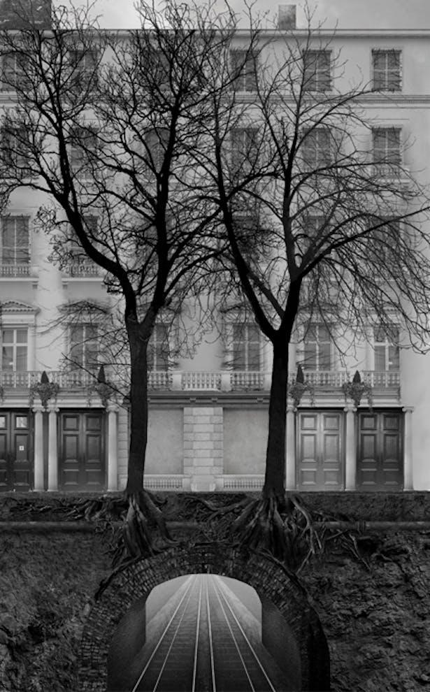 Photoshopped section through Leinster Gardens towards existing false facade