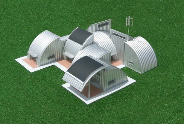 The Homestead House, a modular, energy efficient building system made from steel agriculture components.