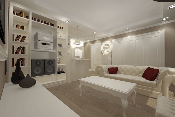 Interior design living room with leather for sofas made