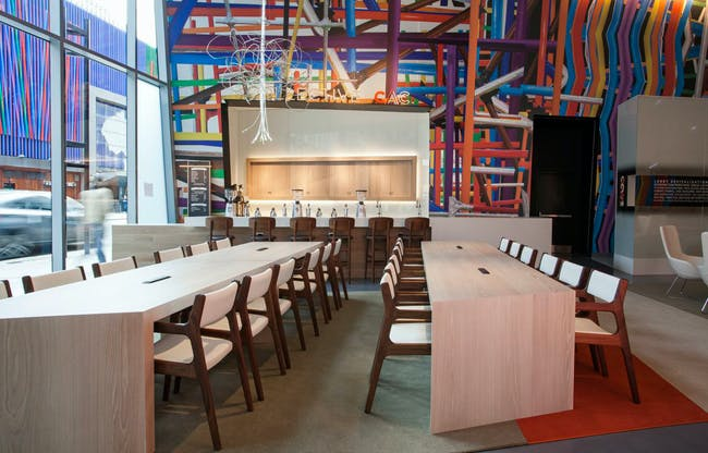 Contemporary Arts Center - Cafe and community tables. Photo courtesy of FRCH Design Worldwide.
