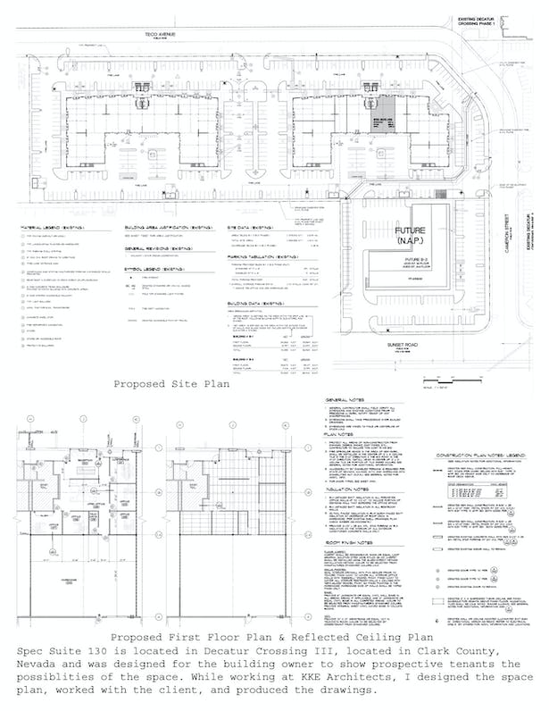 Site Plan, First Floor Plan, and Reflected Ceiling Plan