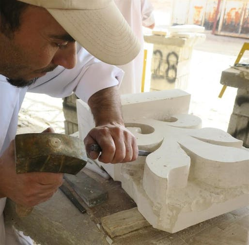 Student honing his carving skills. Photo: World Monuments Fund.