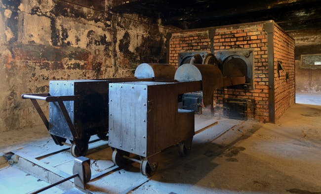 The crematorium at Auschwitz. Image via Wikipedia.