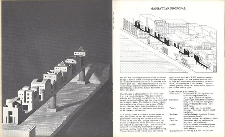 A spread from issue #7, (Steven Holl, 1981) 'Bridge of Houses'. Image via stevenholl.com.