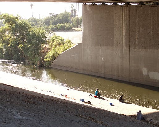 People fishing in the Elysian Valley River Recreation Zone. Photo via Wikipedia.