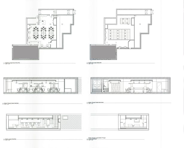 Proposed floor plans, RCP, and sections.