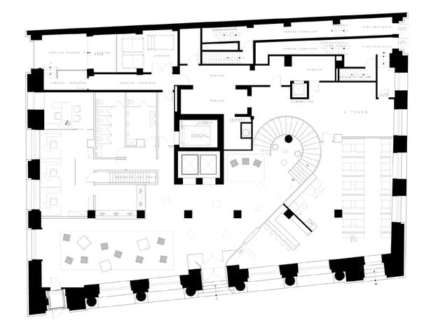 FIRST FLOOR w/ lobby, restaunrant & office