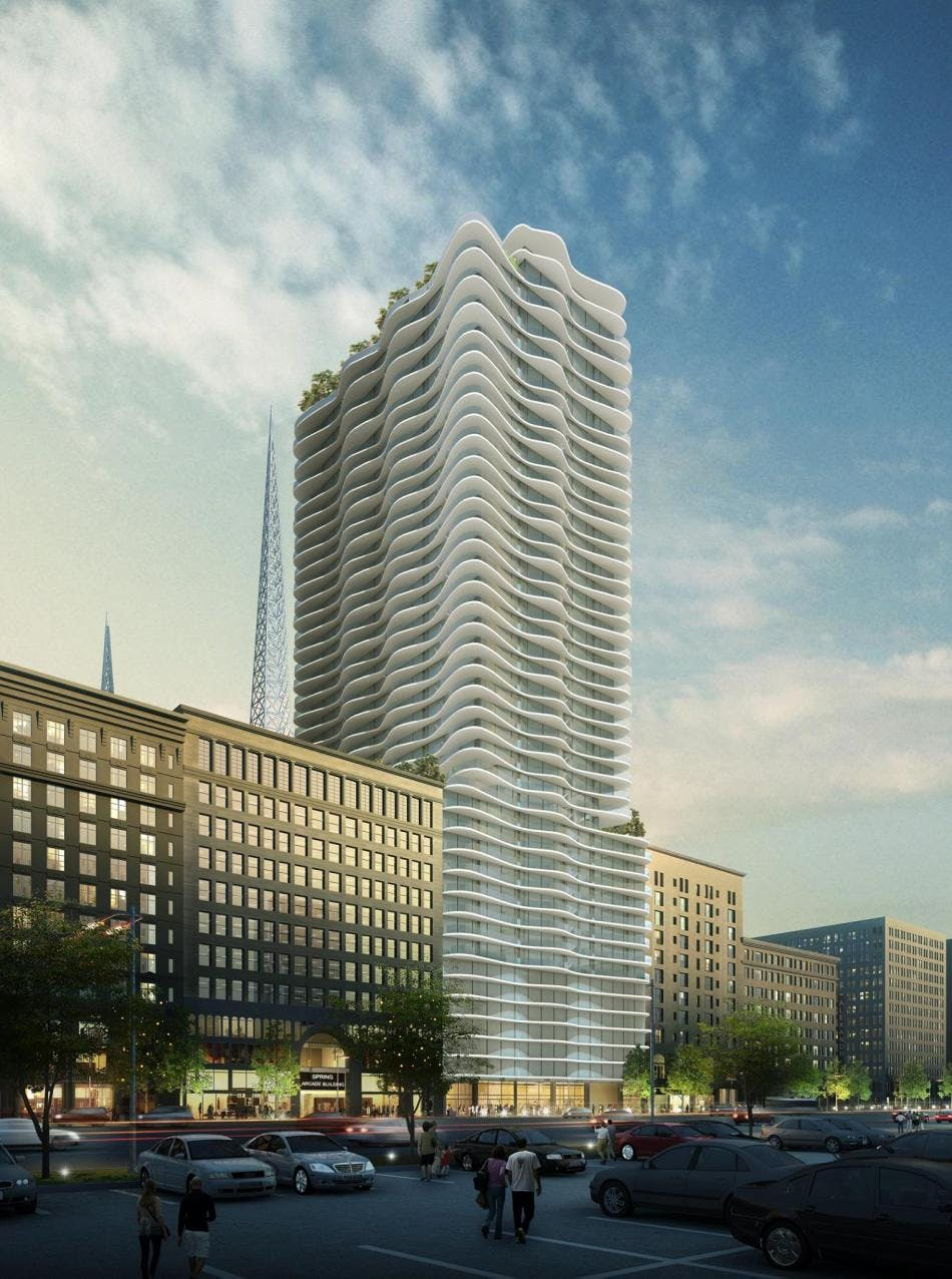 Steinberg Architects Proposes Wavy White 40 Story